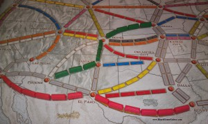 Ticket to Ride board with wagons