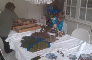 Kids setting up HeroScape